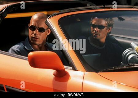 DIESEL,WALKER, THE FAST AND THE FURIOUS, 2001 - Stock Photo