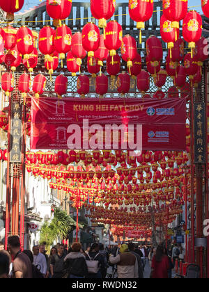 London, UK - Feb 26th 2019: China Town in London decorated with Chinese red lanterns for the Chinese New Year - Stock Photo