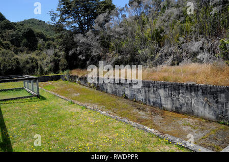 The remains of the old 'olympic' swimming pool in the ghost town of Waiuta. The old gold mining town is on the west coast of New Zealands South Island - Stock Photo