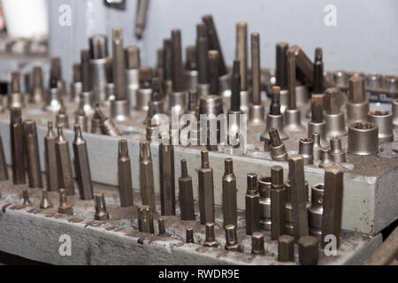 Lot of screwdriver heads - Stock Photo