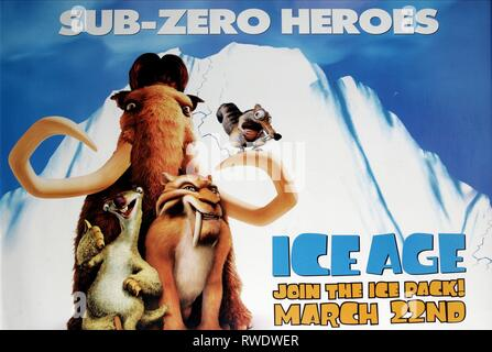 MANNY,SID,DIEGO,POSTER, ICE AGE, 2002 - Stock Photo