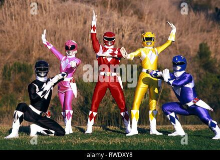 RANGER,RANGER,RANGER,RANGER,RANGER, MIGHTY MORPHIN POWER RANGERS, 1993 - Stock Photo