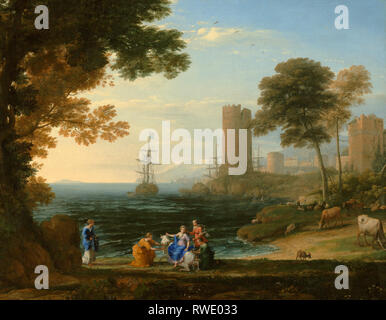 Coast View with the Abduction of Europa; Claude Lorrain (Claude Gellée) (French, 1604 or 1605 ? - 1682); Rome, Italy; 1645 ?; Oil on canvas; Digital i - Stock Photo
