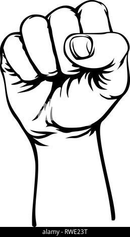 Retro Revolution Hand Fist Raised Air Propaganda - Stock Photo
