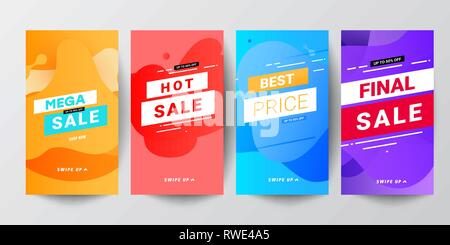 Colored abstract modern graphic banner sets for instagram stories - Stock Photo