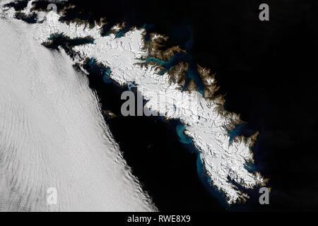 Aerial of South Georgia Island - Stock Photo