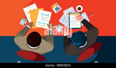air view businessmen working in the office vector illustration design - Stock Photo