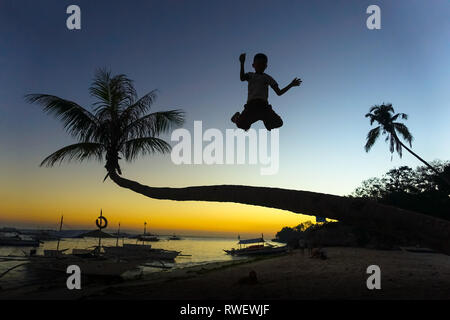 Boy Playing and Jumping off Palm Tree at Sunset - Panglao - Bohol, Philippines - Stock Photo