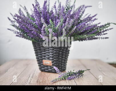 Bunch of lavander on wooden background. Summer concept. - Stock Photo