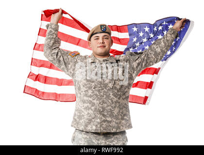 Army Ranger from Special Troops Battalion wearing U.S. flag on his shoulders. - Stock Photo