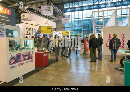 MILAN, ITALY - NOVEMBER 11, 2017: people at EICMA 2017 - 75th International Motorcycle Exhibition - Stock Photo