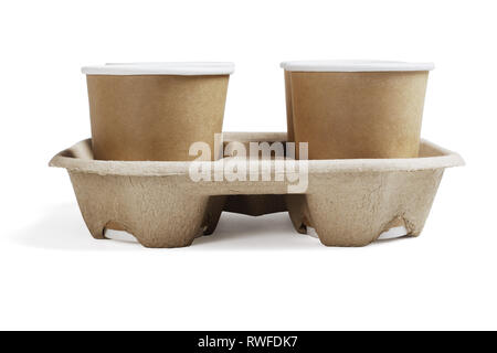 Disposable Coffee Cups in Takeaway Paper Tray on White Background - Stock Photo