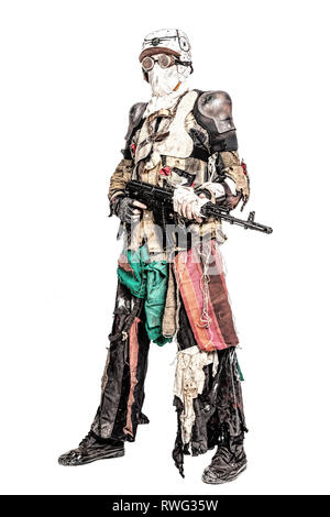 Post apocalyptic survivor creature with homemade weapons. - Stock Photo