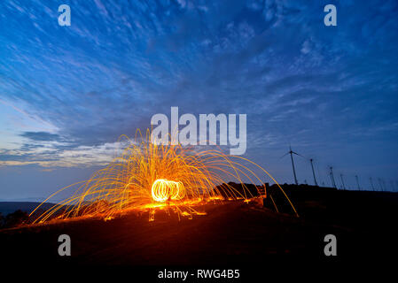 Steel wool photography at Satara, Maharashtra, India. - Stock Photo