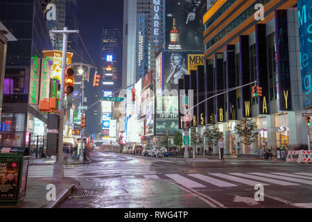 NEW YORK, USA - SEPTEMBER 20, 2013: night street broadway in new york . 48 street, many people and advertising outdoor - Stock Photo