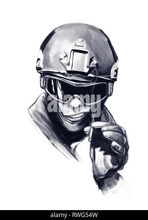 Funny hand drawn cartoon illustration of a spec ops police officer SWAT with cigarette, isolated on white background. - Stock Photo