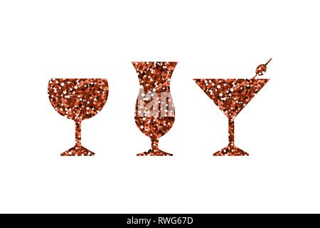 Red abstract cocktail, martini and wine icons. Silhouette with sequin. Vector illustration. - Stock Photo