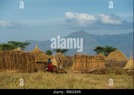 Karamojong village, northern Uganda - Stock Photo