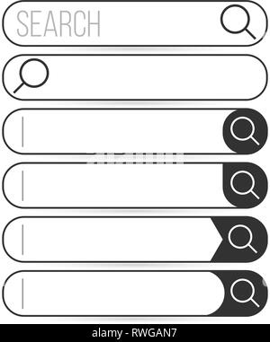 Search bar vector element design, set of search boxes with magnifying glass ui template isolated on white background - Stock Photo
