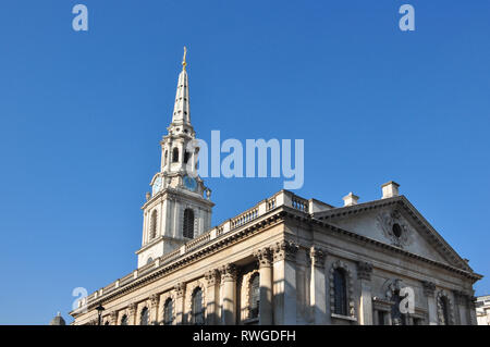Church of St Martin-in-the-Fields, (Duncannon Street elevation), Trafalgar Square, London, England, UK - Stock Photo