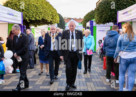 Mayor of Wakefield & councillors, visiting trade stands at Wakefield Food, Drink & Rhubarb Festival 2019 by Cathedral - West Yorkshire, England, UK. - Stock Photo