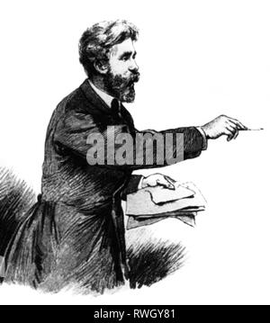 Bebel, August, 22.2.1840 - 13.8.1913, German politician, half-length, during of an speech in the Reichstag, wood engraving, circa 1875, Artist's Copyright has not to be cleared - Stock Photo
