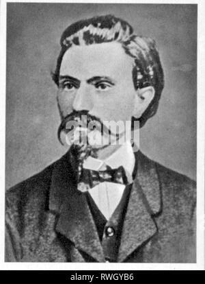 Bebel, August, 22.2.1840 - 13.8.1913, German politician and publicist, Member of the North German Reichstag 1867 - 1871, portrait, circa 1865, Additional-Rights-Clearance-Info-Not-Available - Stock Photo