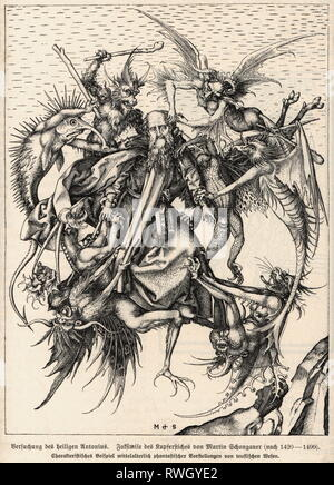 Anthony 'the Great', circa 251 - circa 353, Egyptian Saint, full-length, 'The Temptation of Saint Anthony', copper engraving by Martin Schongau, circa 1470 - 1475, Artist's Copyright has not to be cleared - Stock Photo