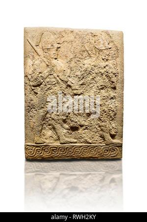 Hittite sculpted orthostats panels of Long Wall Limestone, Karkamıs, (Kargamıs), Carchemish (Karkemish), 900-700 B.C. Soldiers. Anatolian Civilisation - Stock Photo