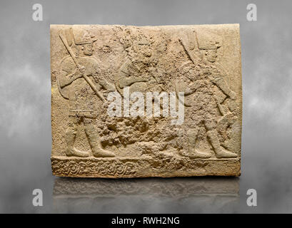 Hittite sculpted orthostats of Long Wall Limestone, Karkamıs, (Kargamıs), Carchemish (Karkemish), 900-700 BC. Anatolian Civilisations Museum, Ankara,  - Stock Photo