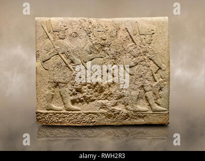Photo of Hittite sculpted orthostats of Long Wall Limestone, Karkamıs, (Kargamıs), Carchemish (Karkemish), 900-700 BC. Anatolian Civilisations Museum, - Stock Photo