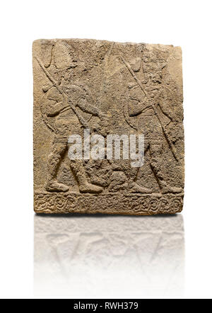Hittite sculpted Orthostats panel of Long Wall Limestone, Karkamıs, (Kargamıs), Carchemish (Karkemish), 900-700 B.C. Soldiers. Anatolian Civilisations - Stock Photo