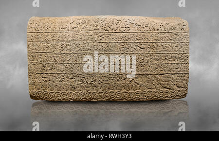 Hittite sculpted Orthostats panel from the  Long Wall.  Limestone, Kargarmis, Gaziantep, 900 - 700 BC,  Hieroglyph. Anatolian Civilisations Museum, An - Stock Photo