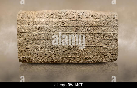 Photo of Hittite sculpted Orthostats panel from the  Long Wall.  Limestone, Kargarmis, Gaziantep, 900 - 700 BC,  Hieroglyph. Anatolian Civilisations M - Stock Photo