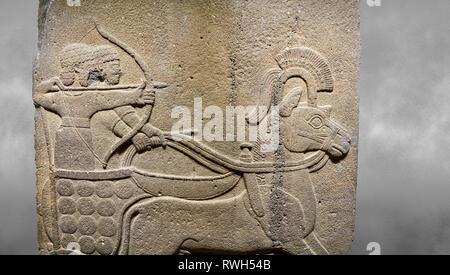 Hittite relief sculpted orthostat stone panel of Long Wall. Close up of Chariot. Karkamıs, (Kargamıs), Carchemish (Karkemish). Anatolian Civilisations - Stock Photo
