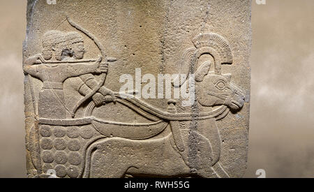 Photo of Hittite relief sculpted orthostat stone panel of Long Wall. Close up of Chariot. Karkamıs, (Kargamıs), Carchemish (Karkemish). Anatolian Civi - Stock Photo
