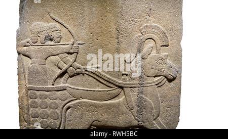 Image of Hittite relief sculpted orthostat stone panel of Long Wall. Close up of Chariot & archer. Karkamıs, (Kargamıs), Carchemish (Karkemish), Anato - Stock Photo