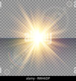 Light flare special effect with rays of light and magic sparkles. Glow transparent vector light effect set, explosion, glitter, spark, sun flash. - Stock Photo
