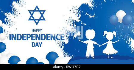 Happy independence day of Israel. Israel festive day on April 19. - Stock Photo