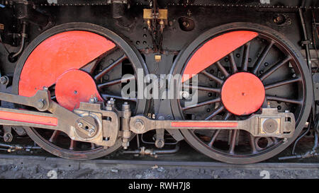 details of a vintage steam train propulsion system - wheels - Stock Photo