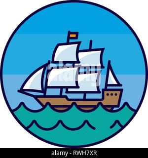 Old sail ship on the sea, color filled  circular line icon vector illustration - Stock Photo