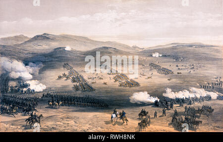 Charge of the Light Cavalry Brigade, print, 25th October 1854, by William Simpson, 1855 - Battle of Balaclava - Stock Photo
