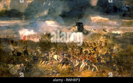 Battle of Waterloo, 18th June 1815, painting, 1852 by Clement-Auguste Andrieux - Stock Photo