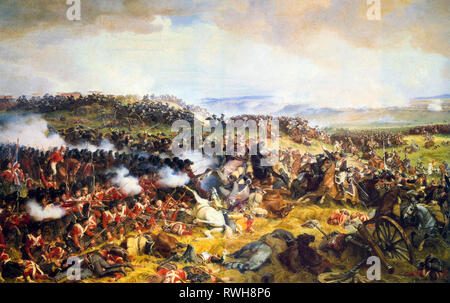 The Battle of Waterloo, The British Squares Receiving the Charge of the French Cuirassiers, painting by Henri Felix Emmanuel Philippoteaux, 1874 - Stock Photo