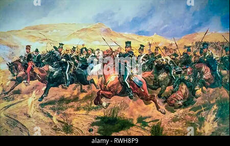 The Charge of the Light Brigade by Richard Caton Woodville Junior,  Battle of Balaclava painting - Stock Photo
