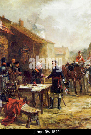 Wellington and Blucher Meeting before the Battle of Waterloo, painting by Robert Alexander Hillingford, after 1815 - Stock Photo