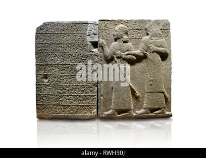 Hittite monumental relief sculpted orthostat stone panel of Royal Buttress. Basalt, Karkamıs, (Kargamıs), Carchemish (Karkemish), 900-700 B.C. Anatoli - Stock Photo