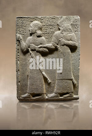 Photo of Hittite monumental relief sculpted orthostat stone panel of Royal Buttress. Basalt, Karkamıs, (Kargamıs), Carchemish (Karkemish), 900-700 B.C - Stock Photo