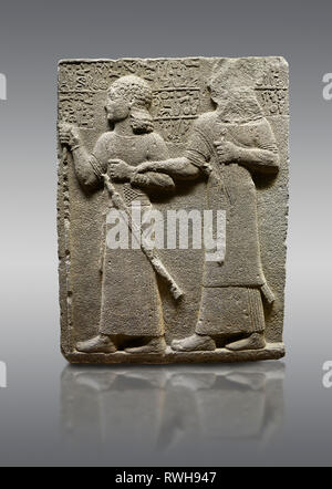 Picture & image of Hittite monumental relief sculpted orthostat stone panel of Royal Buttress. Basalt, Karkamıs, (Kargamıs), Carchemish (Karkemish), 9 - Stock Photo