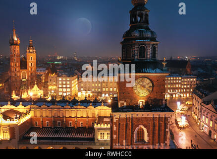 Aerial view of the Market Square in Krakow, Poland at night. Christmas cityscape - Stock Photo